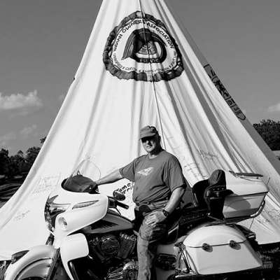 David is the VP of the Indian Owners Association. Pictured here with his Indian Chief at the Branson rally held each May
