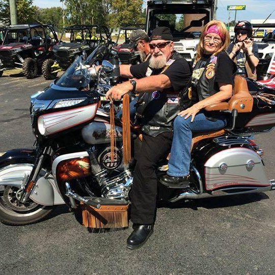 Photo of Tom and Pam Benton on their Polaris Indian Chief